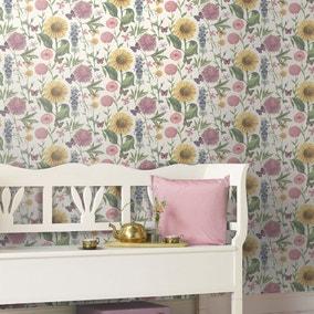Sunflower-Print White Wallpaper