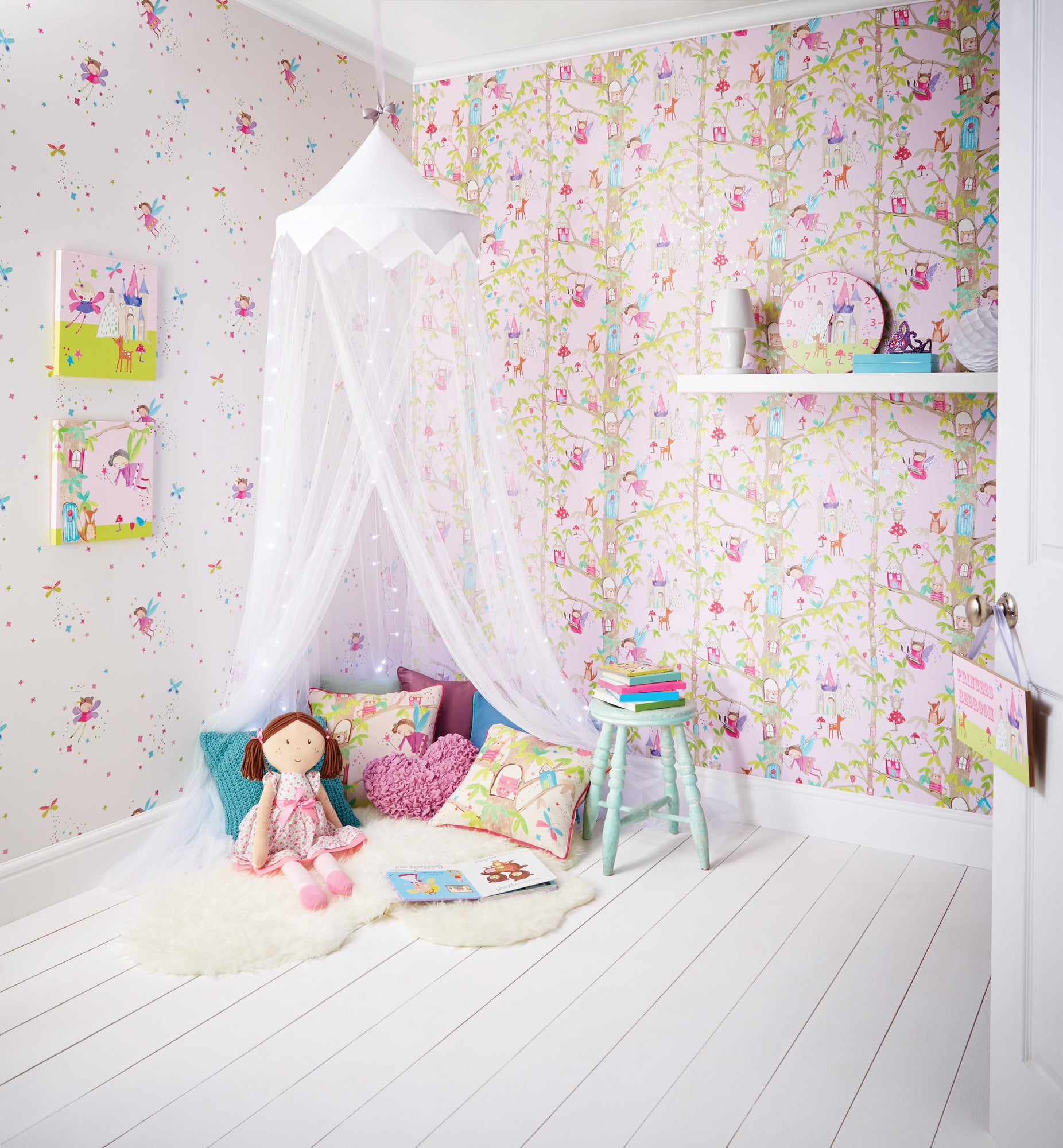 Click to view product details and reviews for Woodland Fairies Pink Wallpaper Pink Green And Purple.