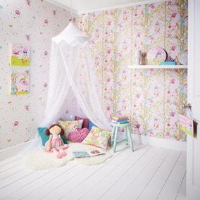 Woodland Fairies Pink Wallpaper