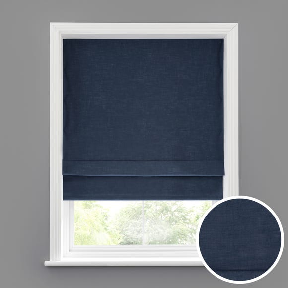 Linen Look Denim Blackout Roman Blind Denim undefined