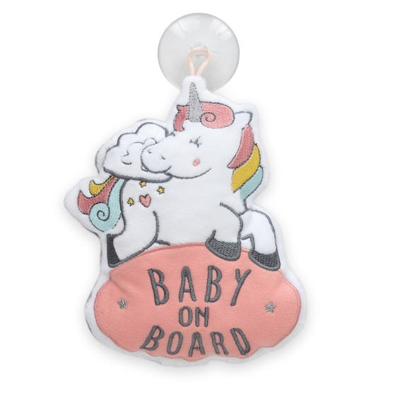 Unicorn Dreams Baby on Board Sign Pink