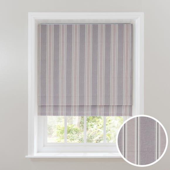 Padstow Grey Stripe Blackout Roman Blind  undefined