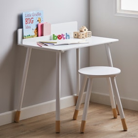 Kids White Desk and Stool