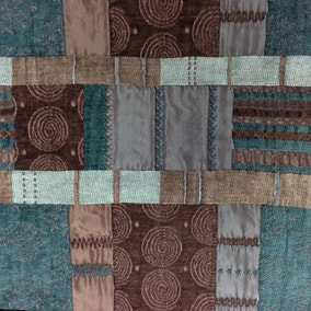Prague Chenille Patchwork Teal Fabric