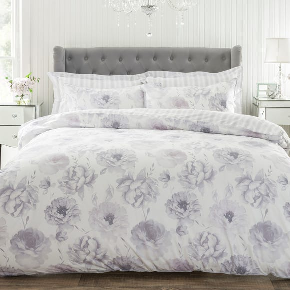 Elodie Grey 100% Cotton Reversible Duvet Cover and Pillowcase Set  undefined