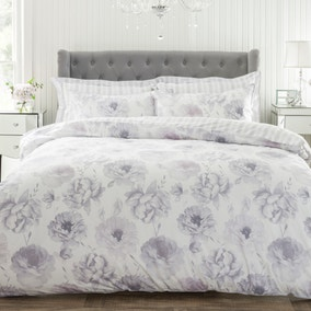 Elodie Grey 100% Cotton Reversible Duvet Cover and Pillowcase Set