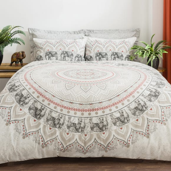 Mandala Elephant Blush Pink Reversible Duvet Cover and Pillowcase Set Blush undefined