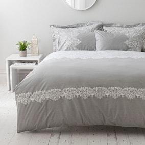 Eleanor Grey Reversible Duvet Cover and Pillowcase Set