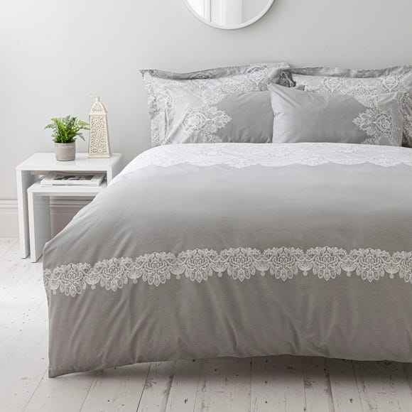 Eleanor Grey Reversible Duvet Cover and Pillowcase Set Grey undefined