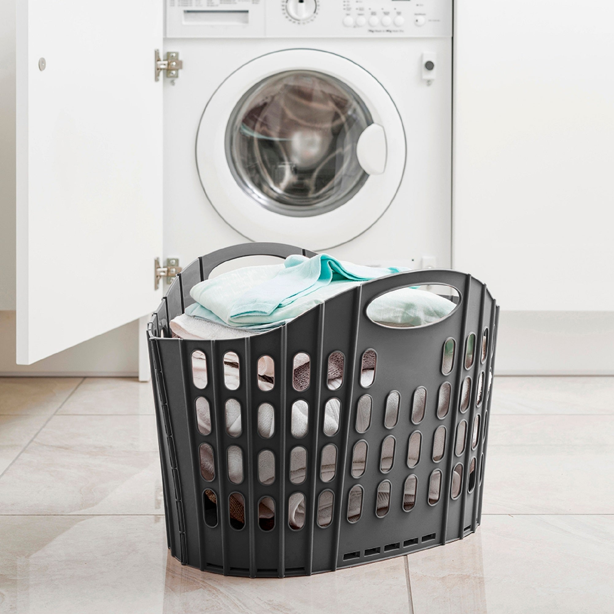 Addis Fold Flat Grey Laundry Basket Grey