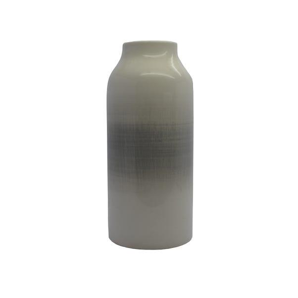 Ceramic Banded Vase Grey