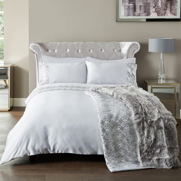 5A Fifth Avenue Astor Embellished Grey Duvet Cover and Pillowcase Set Grey undefined