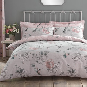 Heavenly Hummingbird Grey & Blush Duvet Cover and Pillowcase Set