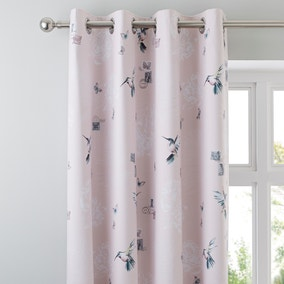 Heavenly Hummingbird Blush Blackout Eyelet Curtains