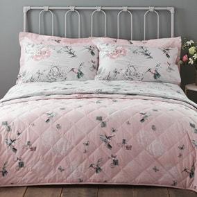 Heavenly Hummingbird Blush Bedspread