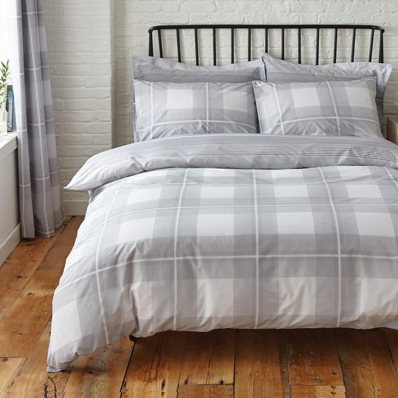 Colby Grey Reversible Duvet Cover and Pillowcase Set Grey undefined