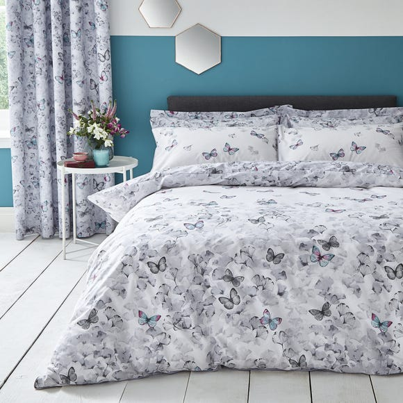 Ginkgo Butterfly White Reversible Duvet Cover and Pillowcase Set  undefined