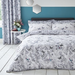 Ginkgo Butterfly White Reversible Duvet Cover and Pillowcase Set