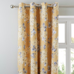 Ashbourne Ochre Blackout Eyelet Curtains