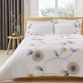 Rae Embroidered White Duvet Cover and Pillowcase Set