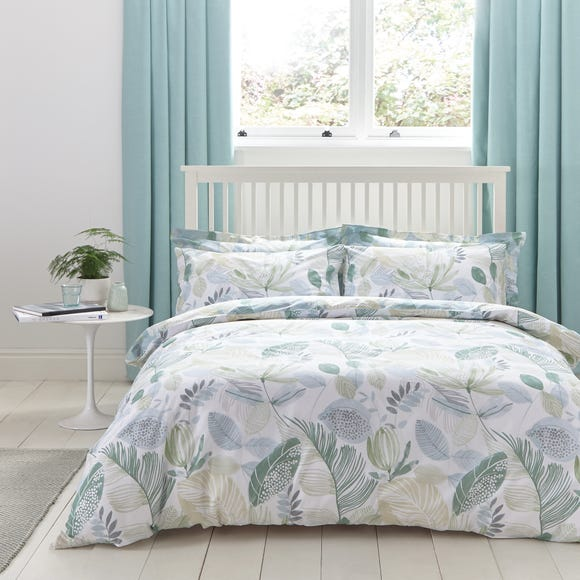 Ashleigh Green Reversible Duvet Cover and Pillowcase Set Green undefined
