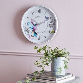 Hummingbird 31cm Wall Clock White