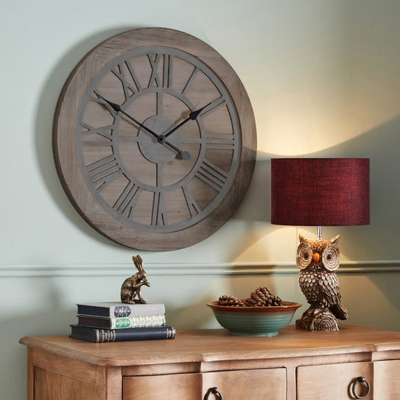 Wooden 60cm Wall Clock Brown
