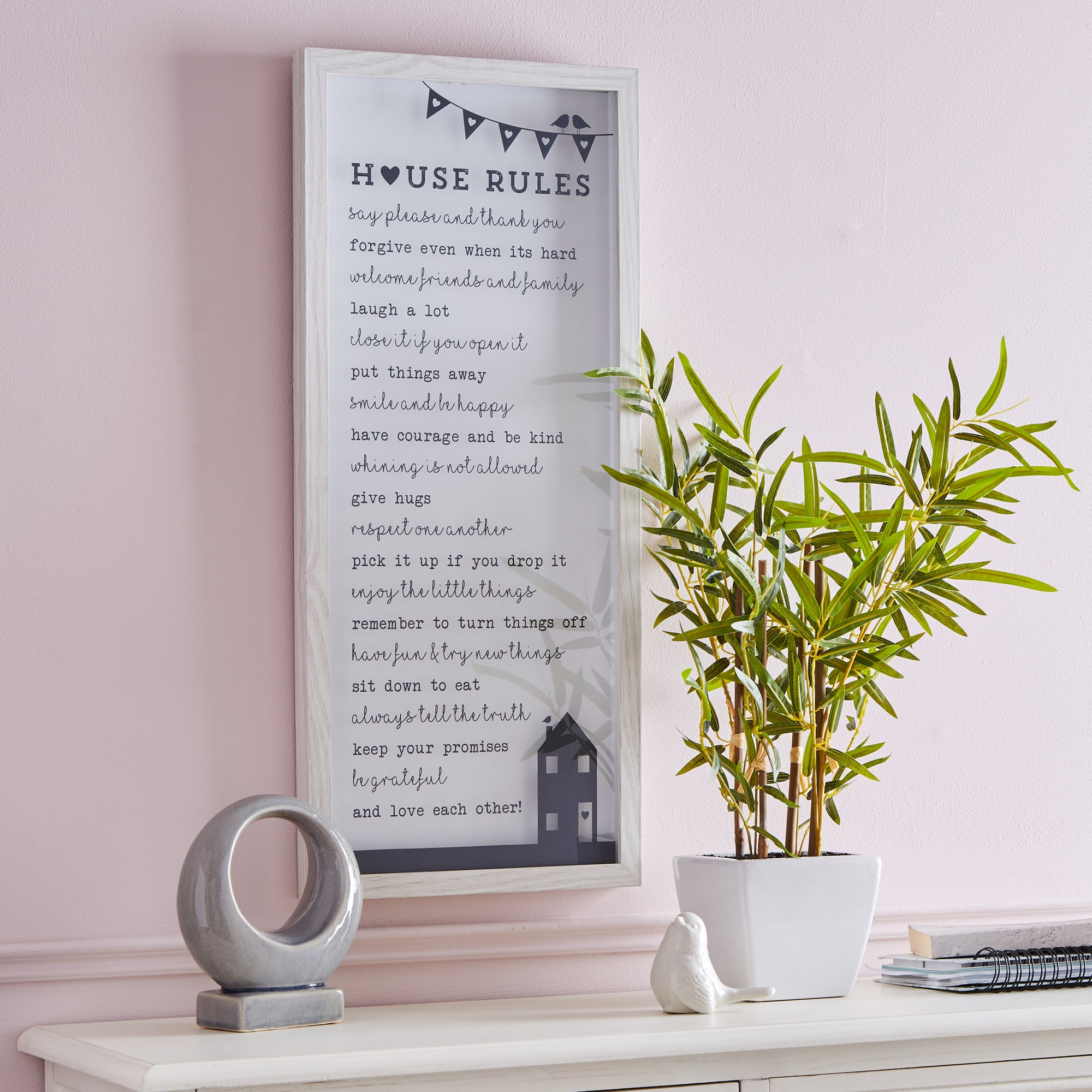 Click to view product details and reviews for House Rules Wall Art White.