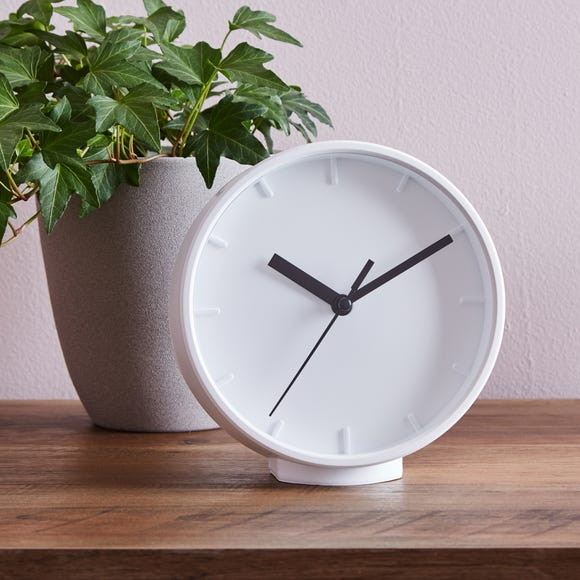 Table Clock 15cm White White