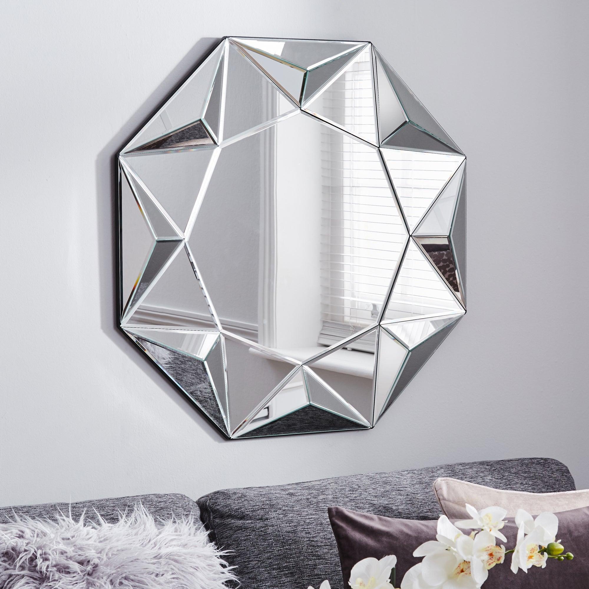 3d Geo Wall Mirror 80cm Clear