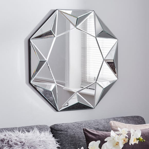 3D Geo Wall Mirror 80cm Clear undefined