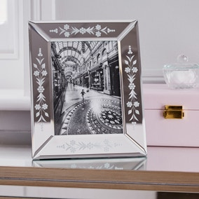 "Floral Mirror Edge Photo Frame 7"" x 5"" (18cm x 13cm)"