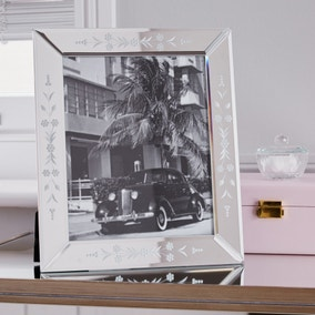 "Floral Mirror Edge Photo Frame 10"" x 8"" (25cm x 20cm)"