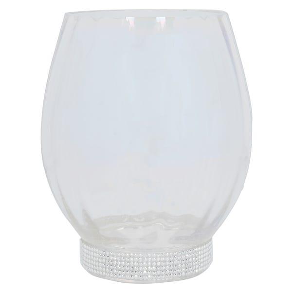 Glass Lustre Hurricane Base Silver