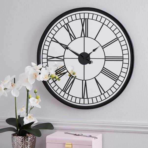 Mirrored 57cm Wall Clock Black