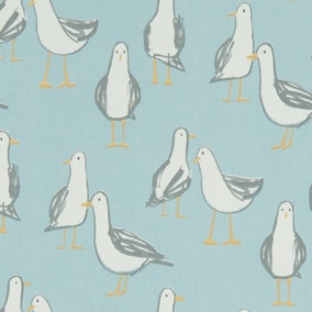Laridae Seagulls Duck Egg Fabric