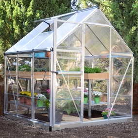 6ft x 6ft Palram Silver Nature Plastic Hybrid Greenhouse