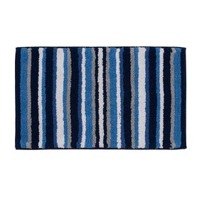 Stripes Blue Bath Mat