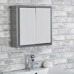 Sicily Grey Double-Door Mirror Cabinet
