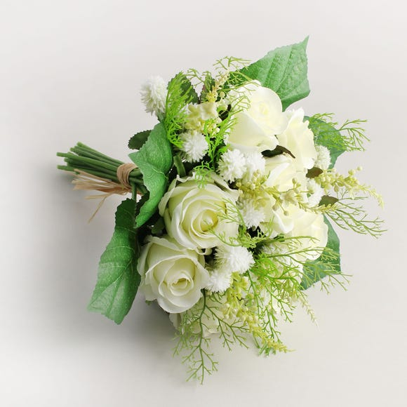 Artificial Rose and Heather Cream Bouquet 30cm Cream