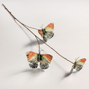 Artificial Butterfly Silver Metallic Single Spray 70cm