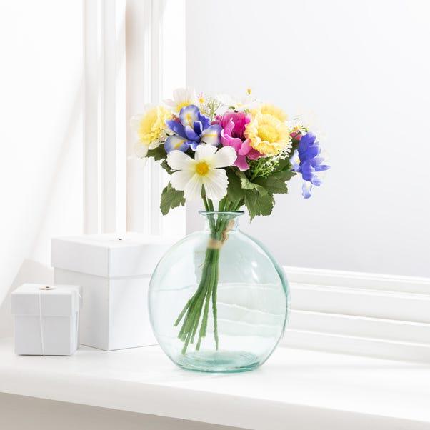 Artificial Daisy and Iris Multi Bouquet 30cm Multi Coloured