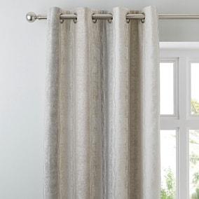 Sadie Stripe Mink Eyelet Curtains