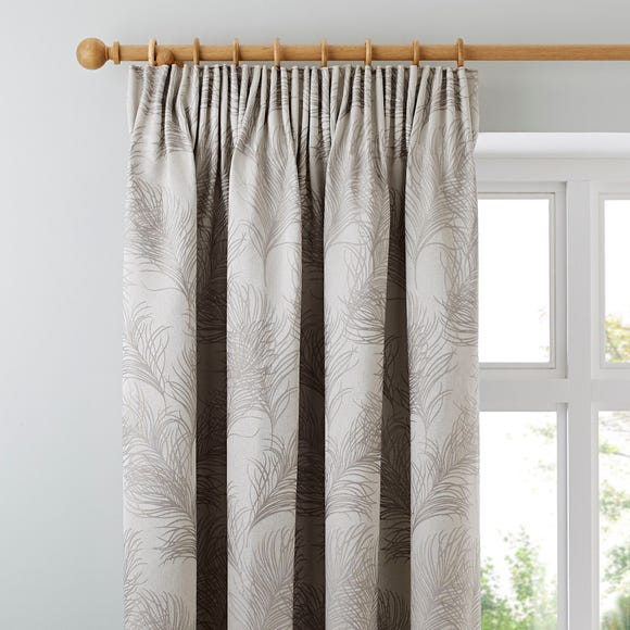Feathers Grey Pencil Pleat Curtains  undefined