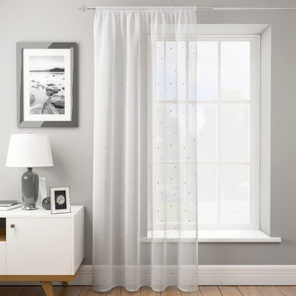Dotty Silver Slot Top Voile Panel  undefined