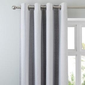 Wide Stripe Grey Eyelet Curtains