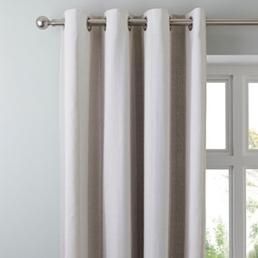 Wide Stripe Natural Eyelet Curtains