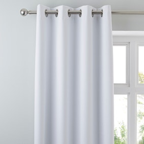 Luna Brushed White Blackout Eyelet Curtains
