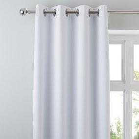 Luna Brushed White Blackout Eyelet Curtains