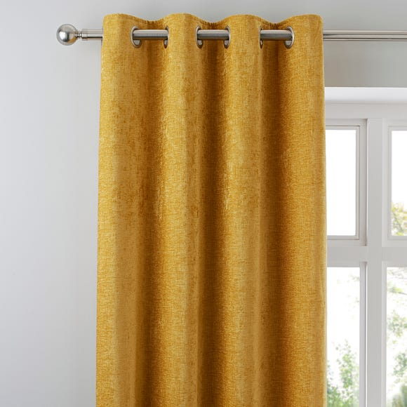 Chenille Mustard Eyelet Curtains  undefined